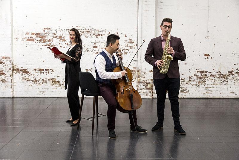 Collide Ensemble, Yasmin Rowe, Yelian He, Joseph Lallo, photo by Pia Johnson